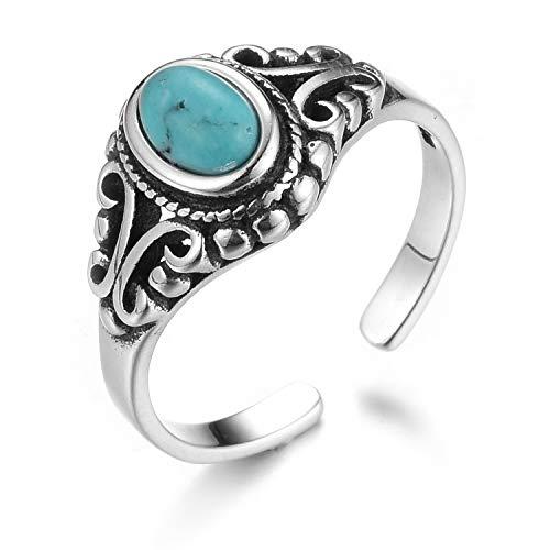 Lotus Fun S925 Sterling Silber Ring Türkis Muschelstein Alt Öffnungen Ringe Natürlicher Kreativ Beliebt Handgemachter Einzigartiger Schmuck für Frauen und Mädchen (Style 1, 49-60)