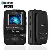 Reproductor de MP3 Bluetooth de 16 GB con Clip para Ejecutar Sonido sin pérdida Mini Reproductor de música Deportiva con Radio FM - Tarjeta Micro SD expandible de hasta 64 GB - Negro