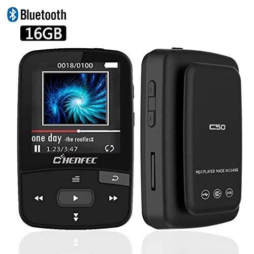 MP3 Player Bluetooth Clip MP3 16GB mit Sports Musik Player Shuffle Wiedergabe Unterstützt Speicher Bis zu 64 GB Schwarz