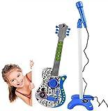Wivilly Gitarre Und Mikrofon-Set Mit Verstellbarer Ständer Karaoke-Musik Musikinstrument Pädagogisches Spielzeug Kinder Geschenk