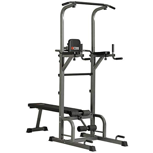 Kicode Power Tower with Bench, Pull Up Bar Dip Station, Height Adjustable Pull Up Tower for Home Gym Strength Training Exercise Workout Equipment, Support Up to 400LBS