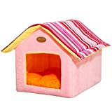 PowerKing Cat Cave Bed,Foldable Pet Cat and Dog Bed with Cushion Pet Puppy Indoor House(Pink)