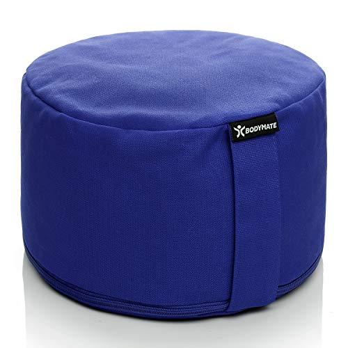 BODYMATE Cuscino da Yoga Rotondo Extra Alto 20cm Diametro 31cm con Imbottitura di Grano Saraceno e Spelta – Rivestimento Lavabile in Lavatrice 100% Cotone Extra Spesso – Cuscino da Meditazione – Zafu