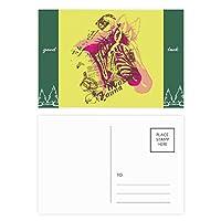 アートフラワーの黄色のピンクのシマウマ グッドラック・ポストカードセットのカードを郵送側20個