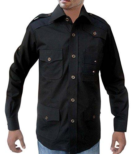 INMONARCH Safari-Maglietta da Uomo in Cotone con 3 Magliette HS110-Boccola Nero