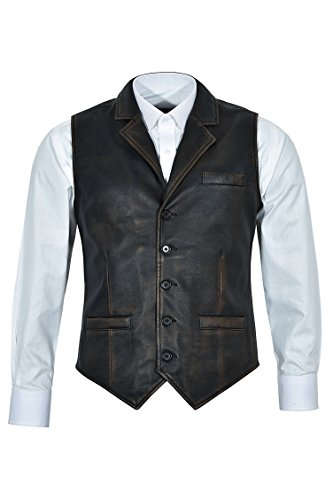 Smart Range Chaleco Negro Envejecido 1349 de los Hombres del Vintage Chaleco Elegante afligido 100% del Cuero Real del 100%