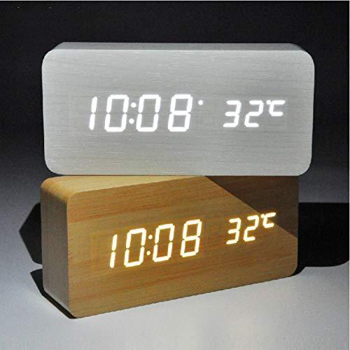 GYCZC Despertador Rectangular Reloj De Madera Led