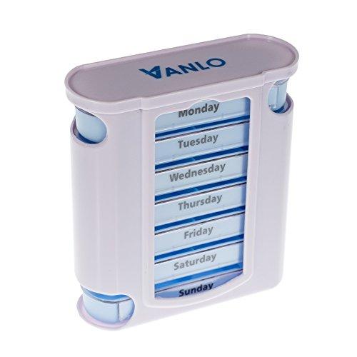 Vanlo Tower Pillendoosje, 7 dagen met 4 vakken per dag, pillendoos, tablettendoos, weekdoseerder, medicijnbox in het Engels