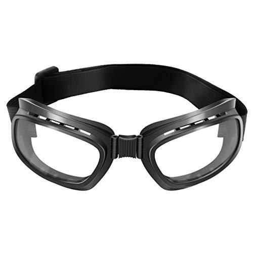 Gafas de Moto Vintage Plegables Gafas a Prueba de Viento Gafas a Prueba de Polvo (Marco Negro y Lente Transparente)