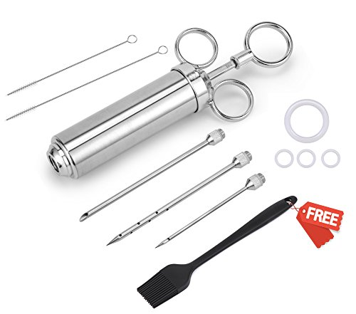 Meat Injector 304 Stainless Steel,XZSUN 2-oz Injector Syringe Kitwith 3 Needles, 2 Cleaning Brushes,1 Basting Brush and 4 Silicone O-rings