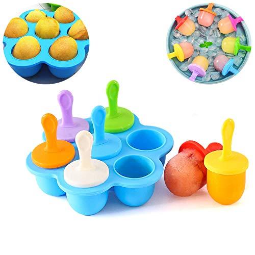 WELLXUNK Eisformen EIS am Stiel Silikon,7 Mulden Eisform mit bunten Kunststoffstäbchen,für Kinder Familie Babynahrungsbehälter, antihaftbeschichtete Eiswürfelschalen(Blau)