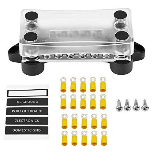 C/N Sammelschiene Terminals Kit Zweireihige Bus Bar elektrische Anschlussverteiler 12V 100A 4Stiftschrauben für Wohnmobil Boot LKW Trailer
