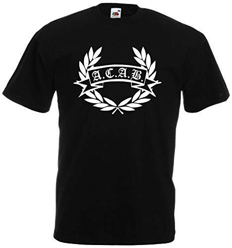World-of-Shirt Herren T-Shirt ACAB Hooligan Lorbeerkranz von S-XXXL