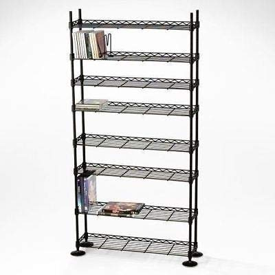 Moon_Daughter Black 8 Tier Media Storage Tower Metal CD DVD Adjust Shelving Stand Holder Shelves Organize