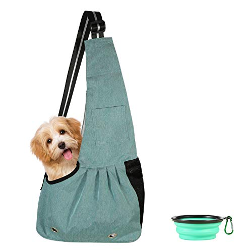 Dog Cat Sling Carrier,Hands Free Pet Outdoor Travel Bag Breathable Adjustable Strap Shoulder Bag Tote for Puppy,Small Dogs,Cats,with Collapsible Dog Bowl (Large, Green)