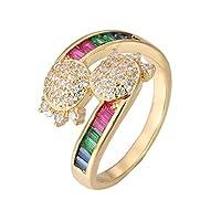 YAZILIND結婚記念日ゴールドメッキリングトータスレインボーカラーキュービックジルコニア結婚指輪レディジュエリー米国サイズ9