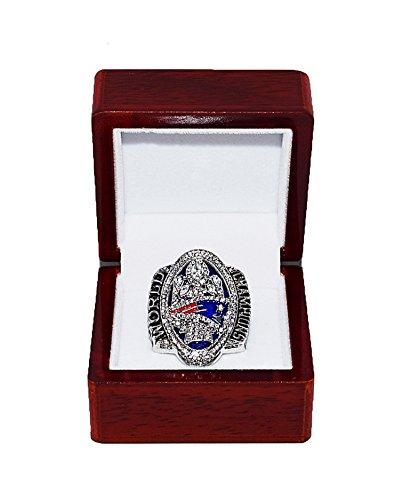 NEW ENGLAND PATRIOTS (Tom Brady) 2016 SUPER BOWL LI WORLD CHAMPIONS (Comeback Vs. Falcons) Collectible High-Quality Replica NFL Football Silver Championship Ring with Cherrywood Display Box