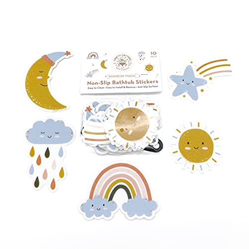 Crafty Critters Non-Slip Bathtub Stickers Pack of 10 Cute Rainbow Baby Bath Bathroom Set Decal Treads. Best Safety Anti-Slip Appliques for Bath Tub and Shower mat for Kids or Baby Bathtub