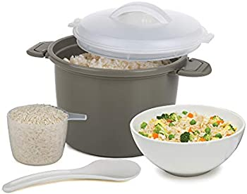 Progressive International Microwave Rice Cooker 4-Piece Set (Gray)