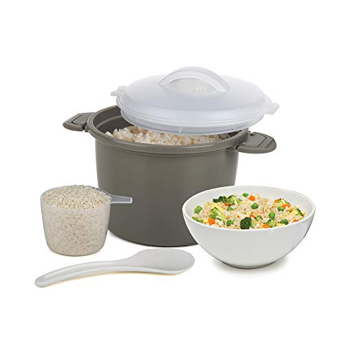 Progressive International Set Microwave Rice Cooker, 4 Piece, Gray