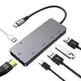 SenPuSi HUB USB C, Concentrador con HDMI 4K, USB 3.0, USB-C (Carga de y transmisión de Datos) Samsung Dex Station Adaptador para Macbook Pro, Macbook Air 2018,Samsung S8+, más USB Dispositivos Tipo C