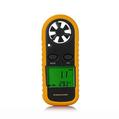 Windmesser LEATON Digital LCD Wind Speed Meter Gauge Air Flow Geschwindigkeit Messung Thermometer mit Hintergrundbeleuchtung für Windsurfen Kite Flying Segeln Surfen Angeln etc.