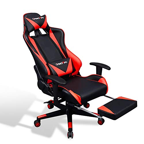 US Stock Racing Gaming Chair with Footrest, Big and Tall Video Game Chair, Ergonomic High Back Computer Chair with Adjustable Armrest, Leather Executive PC Chair with Lumbar Support (Red)
