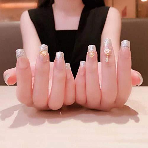 TJJL Faux ongles 24 Pcs Couverture Complète Carré Presse Sur Les Ongles Glitter Couleur Transparente Faux Doigts 3D Fleur Charme Décoration Ongles De Mariée Avec De La Colle