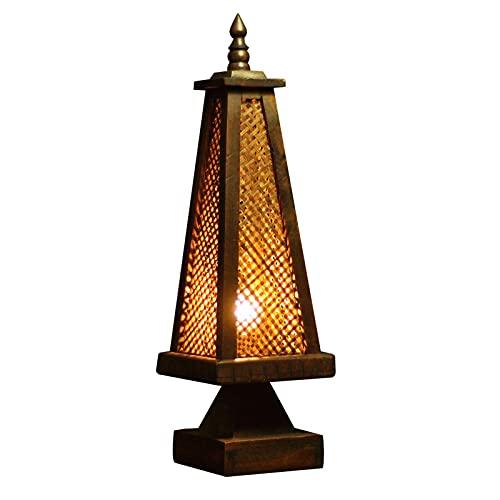 Sala de estar Dormitorio Lámpara de mesa Estilo del sudeste asiático Lámpara de escritorio tejida de bambú Forma de torre creativa Lámpara de mesita de noche de estilo de granja retro Sala de estar Es