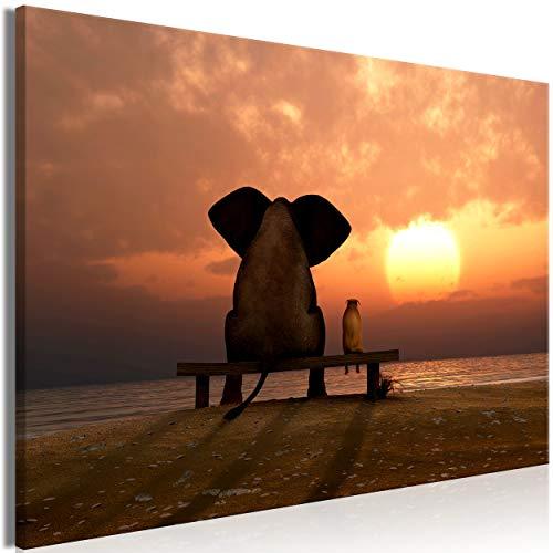 decomonkey Akustikbild Elefant Tiere 90x60 cm 1 Teilig Bilder Leinwandbilder Wandbilder XXL Schallschlucker Schallschutz Akustikdämmung Wandbild Deko leise Sonnenuntergang Natur Landschaft Meer