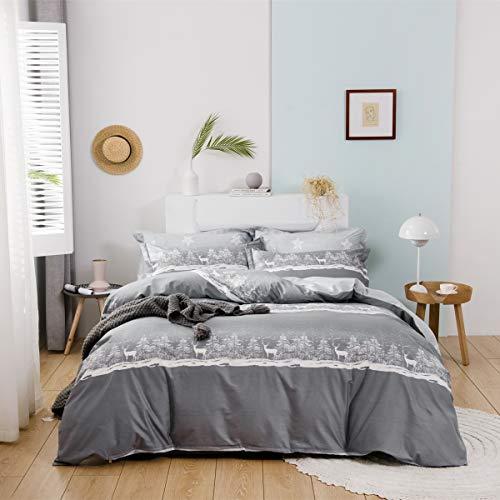 USTIDE Gray Kids Children Duvet Cover Set Deer Bedding Set 100% Cotton Bedding Set Toddler Bedding Double Size