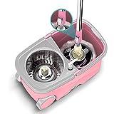 Cubo giratorio fregona, fácil de escurrir y cubo, mejorado sistema de limpieza de piso de acero inoxidable 360 centrifugado y cubo, cubo con escurridor, lavable a máquina en seco, rosa