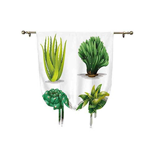 Succulent Roman Curtain,Aloe Vera Plants Cacti Rejuvenating Healing Herbal Spiny Collection Thermal Insulated Blackout Curtain,31x47 Inch,for Kids Bedroom Blackout Curtains Green Green Brown