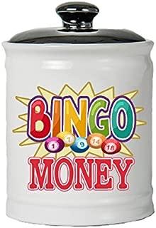 Cottage Creek Bingo Gifts Bingo Money Jar/Round Bingo Money Piggy Bank Bingo Chip Coin Bank Bingo Lover Gifts [White]