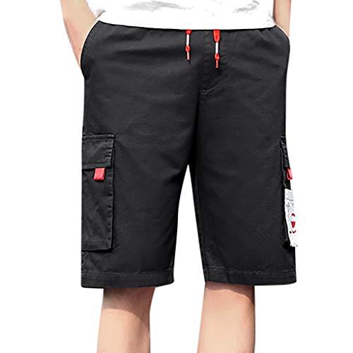 Xmiral Herren Cargohose mit Elastischer Taille Einfarbig Sommer Shorts Große Größe Sports Training Fitness Beachshorts Badehose(C Schwarz,8XL)