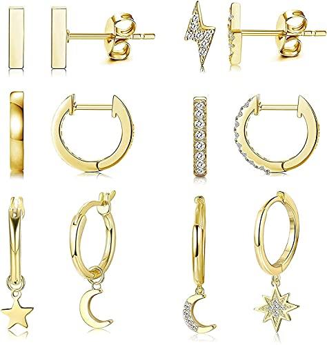 Jewebella Pendientes Aro Mujer Oro Pendientes Aro Colgante Pendientes Estrella y Luna Relámpago Barra Pendientes Arete Zirconia Cúbica Huggie Pendientes Conjunto