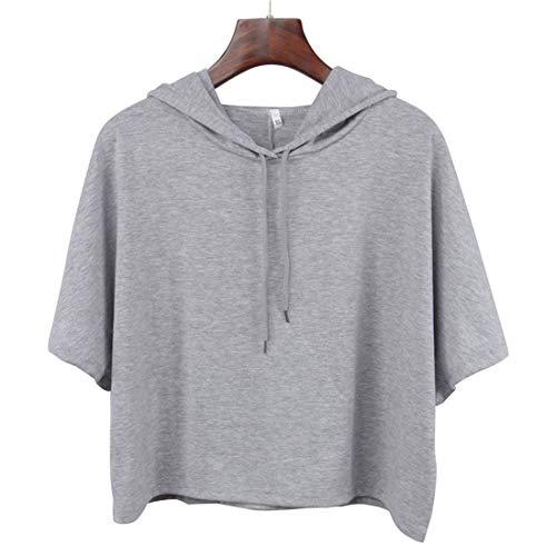 Pullover Damen Sommer Vintage Casual Hoodie Classic Mit Kapuze Crop Tops Normallacks Kurzarm Slim Fit Young Fashion Kapuzenpullover Kapuzenshirt Kleidung (Color : Grau, Size : L)