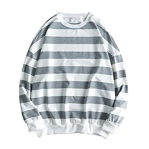 Wave166 Sudadera para mujer de manga larga a rayas, blusa de dos colores, jersey ligero de corte clásico, cuello redondo, estilo informal, gris, XL