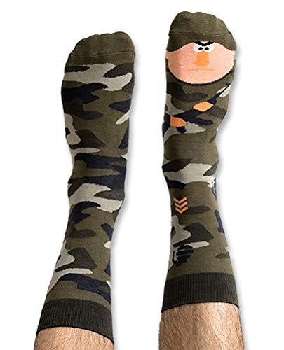 Nanushki unisex lustige verrückte Motiv Socken Militär Soldat (40-43 EU, Mili Terry)