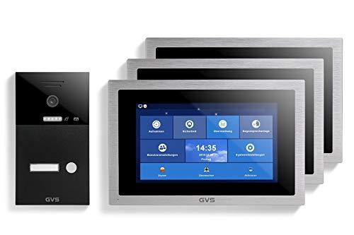 GVS AVS1295U - Videoportero IP de 4 cables, estación de puerta empotrada IP65, monitor de 3 x 10 pulgadas, App, cámara HD de 120 °, función de apertura de puerta, 32 GB de memoria, conmutador PoE, 1 juego de casa familiar