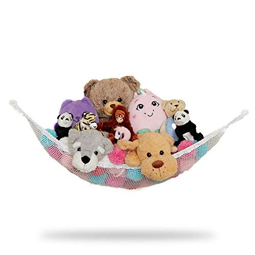 Stuffed Animal Storage Hammock for Small Soft Toys White 32 x 24 Inches