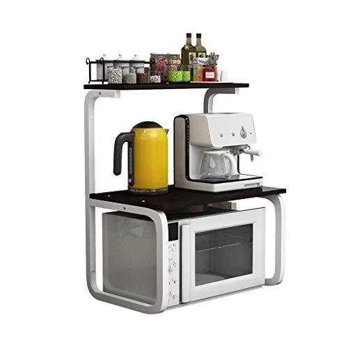 Lipenli Planta de almacenamiento en rack Negro estante de la cocina de microondas horno de carro único horno de carro Arrocera de almacenamiento en rack de almacenamiento en rack multifuncional (Color