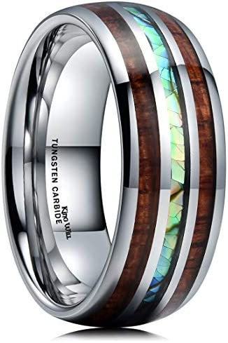 King Will NATURE 8mm Mens Tungsten Carbide Wedding Ring KOA Wood Abaone Shell Inlay Dome Style product image