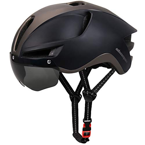 Shinmax Adult Bike Helmet, Bicycle Helmet Men Women with USB Charging Light & Removable Magnetic Goggles Uv Protective & Reflective Adjustable Straps & Backpack Cycling Helmet Bc-048
