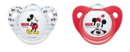 NUK 10176212 Disney Mickey Mouse Trendline Schnuller, Silikon, 6-18 Monate, BPA-frei, 2 Stück, rot