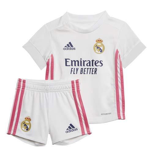 Adidas Real Madrid Temporada 2020/21 Equipación Completa Oficial, Niño, Blanco, 86 cm (Baby)