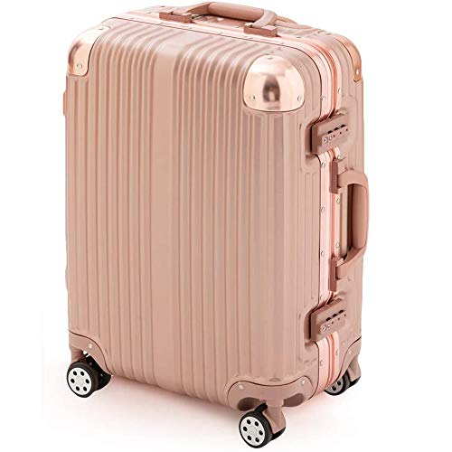 スーツケース アイリスプラザ キャリーバッグ アルミフレーム 大型 軽量 Lサイズ 120L ダブルキャスター 7泊以上 旅行 ピンク