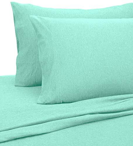 Royale Linens Soft Tees Cotton Modal Jersey Knit Sheet Set, Full, Aqua