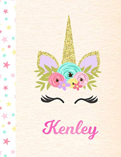Kenley: Personalized Unicorn Handwriting Practice Paper for Girls, 8.5 x 11, Mid-Line Dashed Learn to Write Pink Blank K-2 Primary Kids Writing Pages