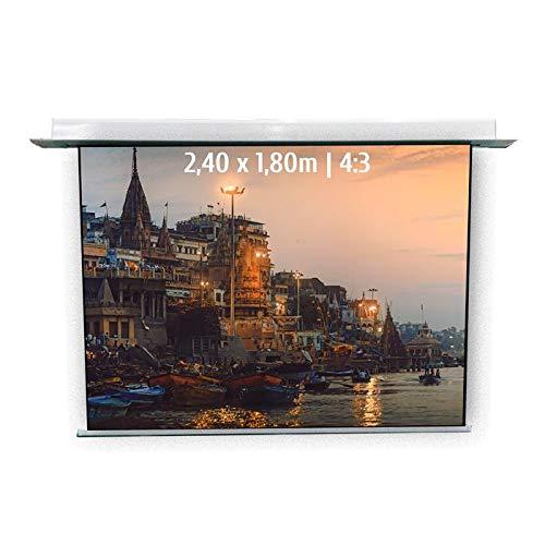 KIMEX 048-1504W Pantalla de proyección eléctrica empotrable 2,40 x 1,80m, Formato 4/3,...